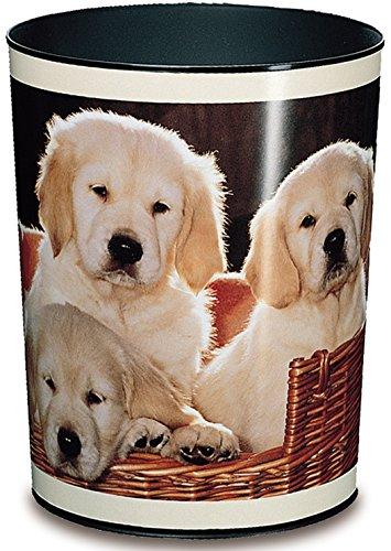 Läufer 26551 Papierkorb mit Motiv Hunde, 13 Liter Mülleimer, perfekt für das Kinderzimmer, rund, stabiler Kunststoff