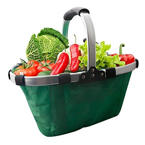 A-SZCXTOP Collapsible Picnic Fruit Basket Durable Shopping Bag Garden Tote Aluminum Alloy Frame and Environmental Oxford Cloth Lightweight and Portable-Green