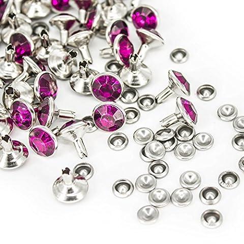 10mm Diamante Diamond Rivet Studs Violet Purple for Jeans Fabric