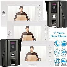 """KKmoon 7"""" Timbre Video Portero Intercomunicador Interfono (2 Cámara de Vigilancia, 3 Monitor TFT LCD, 3 IR LED Visión Nocturna, Desbloqueo Remoto)"""
