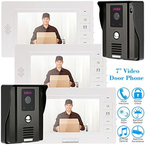 KKMOON Video Interphone Intercom Sonnette visuelle de porte avec 2pcsCCTV Camera de Sécurité extérieure + 3pcs 7inch HD Moniteur intérieur Surveillance TP01H-23