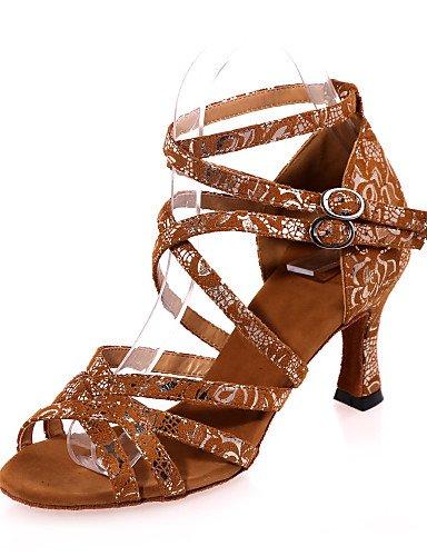La mode moderne Non Sandales femmes personnalisables Chaussures de danse latine Flocage Flocage sandales talon évasé pratique / Intérieur / Performance / noir / or brun US6.5-7 / EU37 / UK4.5-5 / CN37