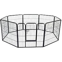 HOMCOM PawHut Parque Mascotas Valla 8 Piezas 80x80cm + Puerta Entrenamiento Perros