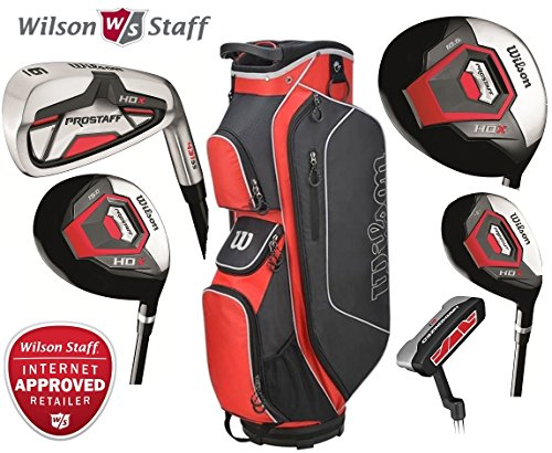 Wilson-Prostaff-Graphite-Shafted-HDX-Irons-Graphite-Shafted-HDX-Woods-Super-Deluxe-Mens-Complete-Golf-Club-Set-Prostaff-RedBlackWhite-Cart-Bag-Mens-Right-Hand-Limited-Edition-Only-available-from-The-G