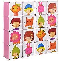 [Neu.haus] Estantería infantil DIY con 16 compartimentos de motivos rosa, transparente (145x145cm) estantería ensamblable de plástico