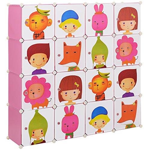 [neu.haus] Kinder Regalsystem DIY mit 16 Fächern [145x145cm] Kunststoff Steckregal