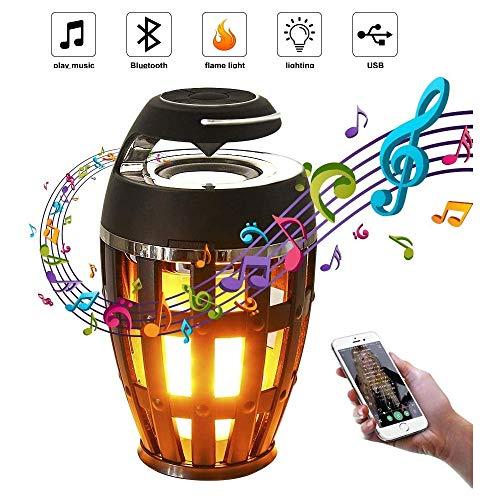 KJRJDP Led Flamme Lautsprecher-Licht, wasserdicht drahtlose Bluetooth-Atmosphären-Lampe Taschenlampe Flickering tragbare HD Audio Dusche Lautsprecher for Außen Camping, Party, Flackern Tragbare Lautsp