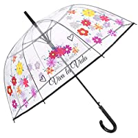 Floral Transparent Umbrella for Girls Women - Windproof Dome with Flowers and Viva La Vida - Stick Resistant Clear Long Brolly in Fiberglass - High Quality - Automatic Opening - Diam 89 cm - Perletti