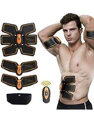 Appareil Abdominaux Unisexe,SHENGMI Smart Ceinture d'électrostimulation Abdominal Massage Musculaire Bras Multiple Endroit Fitness ou Cuisses Entraînement Muscle Abdominale Sans Fil pour