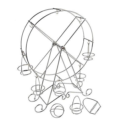 Kicode Dépôt de Stand Cupcake 8 Tasses Acier Inoxydable en Argent Porte-Porteur Grande Roue pour Les Parties de Thème de Cirque, Les Anniversaires, Les Mariages et Plus Encore