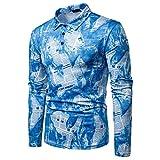 Xmiral Herren Top Hemd Slim Fit Hemd Gestreift Taste Langarmhemd Tab-Kragen Bluse Muskel V-Ausschnitt(M,Blau)