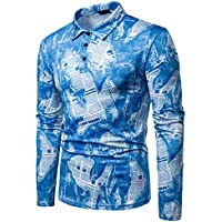 Camisa Slim Fit Casual De Primavera para Hombre Camisa con Botones De Manga Larga Top Blusa