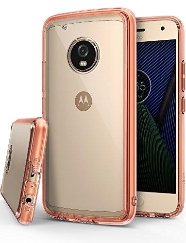 Ringke Funda para Motorola Moto G5 Plus, [Fusion] Protector de TPU con Parte Posterior Transparente de PC Caso Protectora biselada para Motorola Moto G5+ - Cristal Oro Rosa Rose Gold