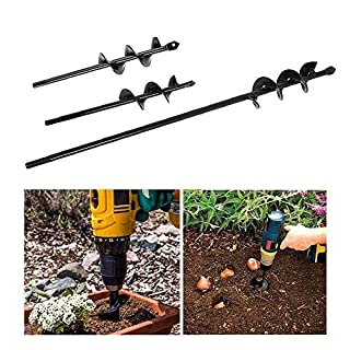 Volwco Auger Drill Bit Set, 3 Pcs Hand Drill Digger Auger Spiral Drill Bit with Non-Slip Hex Drive, Post Hole Borer Soil Cultivator for Garden Planting (22 * 4cm, 22 * 5 cm, 45 * 4cm)