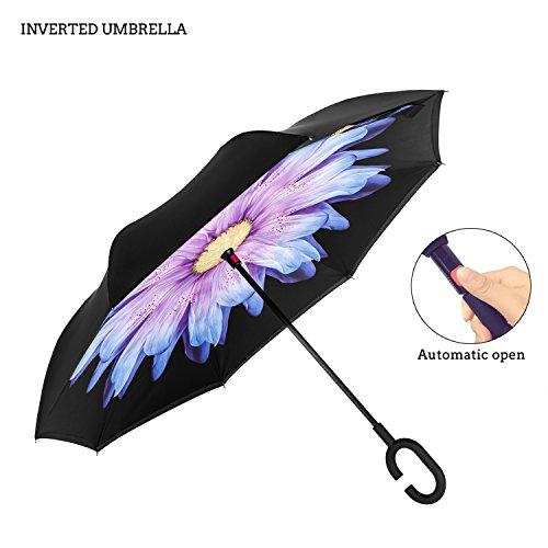Premium Double Layer seitenverkehrt Regenschirm für-Auto von ambrellaok Rückseite zusammenklappbar Upside Down C-förmigem Hände frei Griff–Kompakt Leicht und winddicht–Ideal Geschenk Herren und Damen (Unten Double-layer)