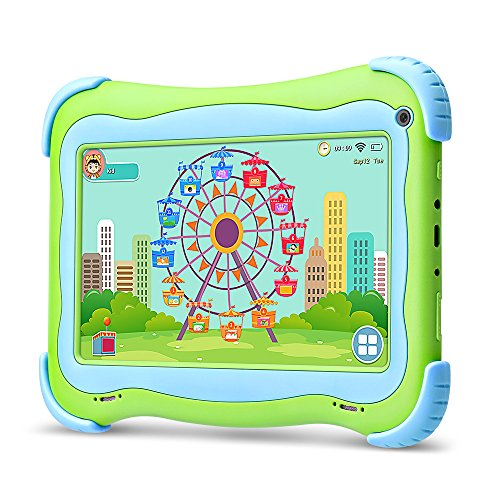 YUNTAB Tablette Q91 7 Pouces Tablette Tactile Enfant 1024X600 HD Resolution 16 Go Android 5.1 A33 Quad Core Bluetooth Google Play Store (Green)