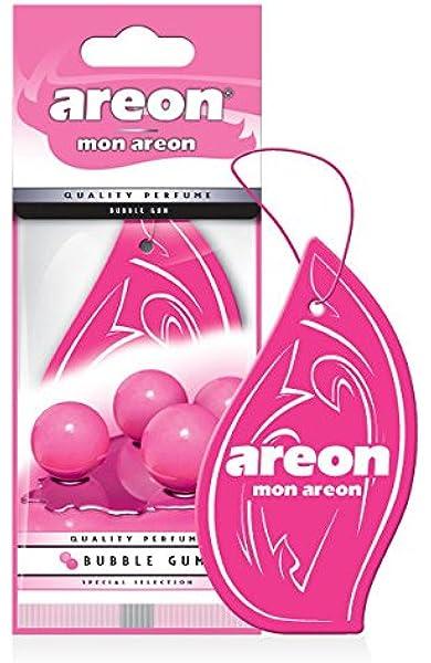 Areon Mon Auto Lufterfrischer Bubble Gum Duft Autoduft Kaugummi Pink Rosa Hängend Aufhängen Anhänger Spiegel Pappe 2d Wohnung Set Pack X 12 Auto