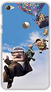 Crazy Beta house is floating in the air lifted by balloons Edward asner,scout and dog hanging with rope Printed mobile back cover case for Letv LeEco 1s