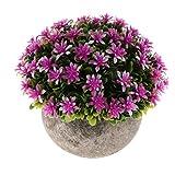 Fenteer Künstliche Gypsophila Bonsai Pflanzen im Topf Kunstpflanze Dekopflanzen Topfpflanzen - Lila - 5