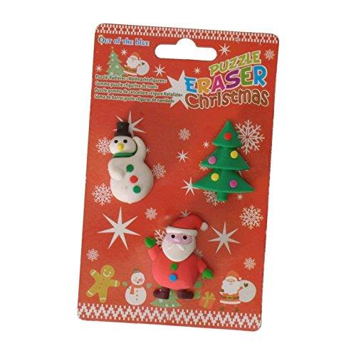 Weihnachtsfiguren Radiergummis mit mehreren Puzzleteilen im 3er Set - Weihnachten Radierer...