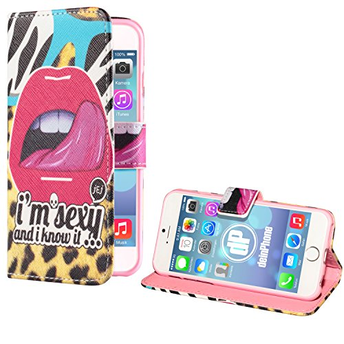 """deinPhone Apple iPhone 6 6S Plus (5.5"""") KUNSTLEDER FLIP CASE Hülle Tasche Eulen Happy Family Sexy and I know it"""