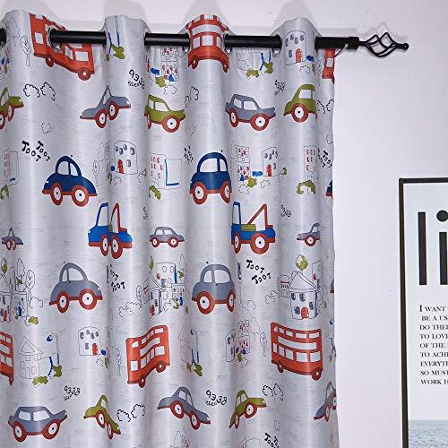 2er-Set Karikatur blickdichte vorhänge für Kinder Kinderzimmer (160*140 cm, Cartoon Car)