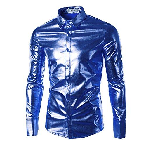 ps Clubwear Cosplay Herrenmode Bling Shiny Slim Langarm T-Shirts Button Down T-Shirt Sapphire Blue XL (Club Halloween Kostüme Für Jungs)