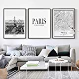 Tanyang Nordic Poster Nero Bianco Parigi Paesaggio Pittura su Tela Mappa della Città Citazioni Stampa Artistica da Parete Immagine per Soggiorno Decorazioni per la casa No F