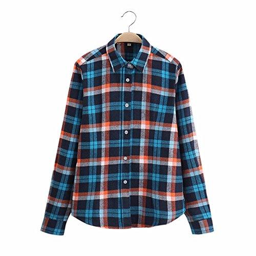 Camicetta a maniche lunghe in cotone a maniche lunghe in cotone a maniche lunghe di grandi dimensioni Streetwear Blu