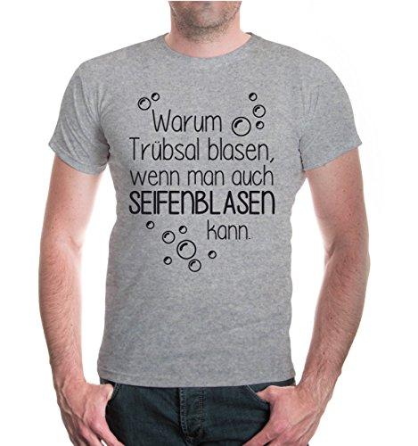 buXsbaum® T-Shirt Warum Trübsal blasen, wenn man auch Seifenblasen kann Heathergrey-Black