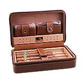 OaLt-t Humidor de cigare, boîte-cadeau for homme étui à cigares étui à cigares, voyage Portable humidificateur à cigares Set de cèdre doublure en cuir surface Ciseaux à cigares, brun noir 4 humidifica