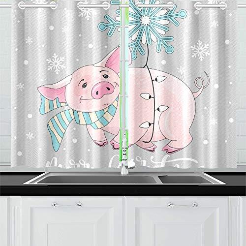 JOCHUAN Cute Pig On Christmas New Year Küche Vorhänge Fenster Vorhang Stufen für Café, Bad, Wäscherei, Wohnzimmer Schlafzimmer 26 X 39 Zoll 2 Stück (Teen Pig Kostüm)