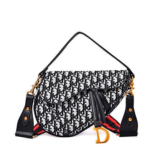 W&TT Ladies Vintage Satteltasche Flip Magnetische Schnalle Große Kapazität Tote Mit 2 Schultergurt Crossbody Taschen,Black,26 * 4 * 21Cm