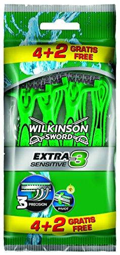 Wilkinson Sword - Rasoi usa e getta Extra 3 Sensitive, confezione da 6 pezzi