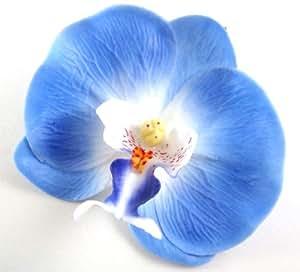 """Bleu (10) Orchidée Phalaenopsis artificielle en soie - 3,5 """"- Lot de 24 fleurs artificielles fleurs pour mariage accessoires"""