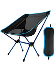 EXTSUD Outdoor Folding Chair, Portable Foldable Aluminum Camping Travel Chair Fishing Hiking Stool Backpacking Seat Stool (Hold up to 300 lb)