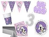 PS Party Deko Set 3.Geburtstag Minnie Mouse Einhorn Mädchen 61 teilig bis 16 Personen Kindergeburtstag Party Komplettset Raum Deko