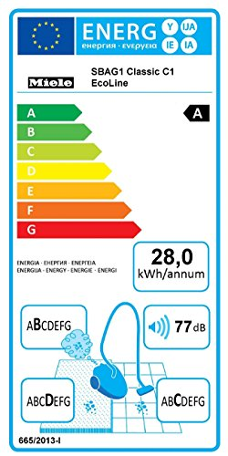 Miele Classic C1 EcoLine Bodenstaubsauger / A / Rot / 6-stufiger Drehregler / AirClean Filter / VarioClip / GN Staubbeutel -