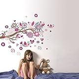 denoda Pinke Vögel auf einem Ast - Wandsticker (Wandsticker Wanddekoration Wohndeko Wohnzimmer Kinderzimmer Schlafzimmer Wand Aufkleber)
