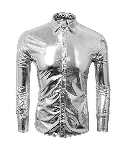 Cusfull moda uomo camicie maniche lunghe bronzare pulsante bling men shirts tops slim fit costume perfetto per partito discoteca nightclub ballando halloween cosplay (m, argento)