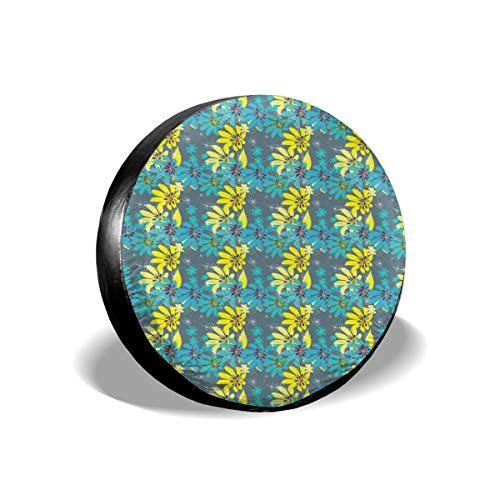 BBABYY Tire Cover Tire Cover Wheel Covers,Abstract Flowers with Hand Drawn Daisies and Leaves Exotic Bedding Plants,for SUV Truck Camper Travel Trailer Accessories 15 inch
