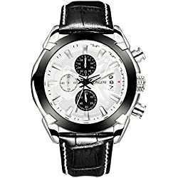 SONGDU Men's Date Chronograph Watch with White Analogue Multi Face and Black Leather Strap