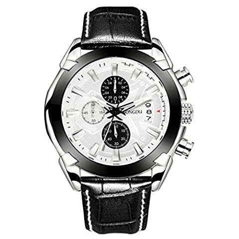 SONGDU Men's Date Chronograph Watch with White Analogue Multi Face