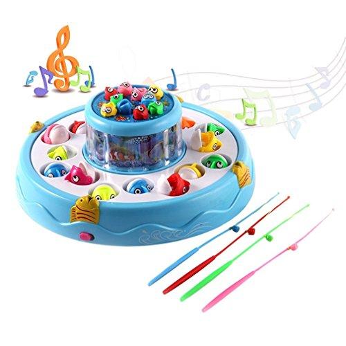 Elektro Angeln Spielzeug, GreensKon 26 Fische 4 Angelruten 2-Schicht-Teich Pädagogischen Spielwaren Drehende Magnetischer Angelspiel für Eltern Kinder Interaktion Imagination (Blau) (2 Blaue Fisch-auge)