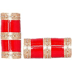 Royal Bangles Red Plastic Punjabi Bridal Chooda for Women (2.4)