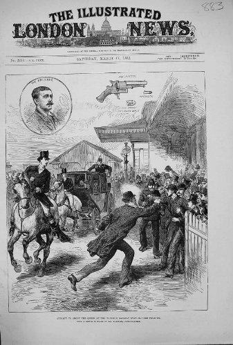 POLIZIOTTO 1882 DELLA PISTOLA DELLA STAZIONE FERROVIARIA DI WINDSOR DELLA REGINA DEL TIRO DI TENTATIVO DI SCENA - Scena Tiro