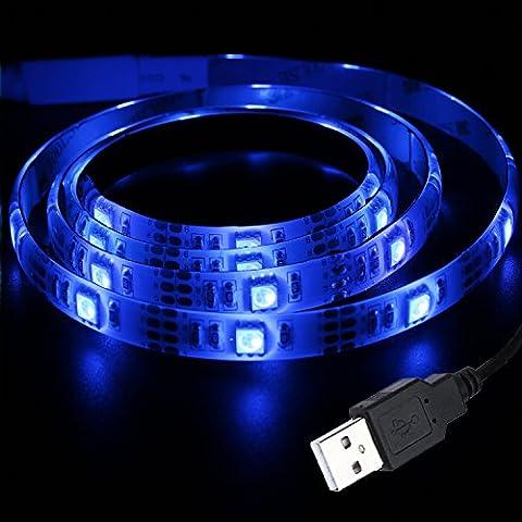Liqoo® 100cm 1m Blaulicht USB 2.0 LED Blau Strip Streifen Leiste Lichtkette Wasserdicht 30 x 5050 SMDs