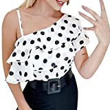 f63f9e6df82 Mujeres Sexy Blusa Un Hombro con Volantes Dot Print Casual Blusa Casual Camiseta  Camisas De Mujer Elegante Camisa Desigual Tops