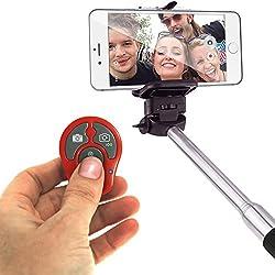 Igadgitz 2 ° Generazione Rosso Wireless Senza Fili Selfie Bluetooth Scatto Remoto Controllo Shutter con Funzione Zoom per Samsung Galaxy S3 S4 NOTE 1 2 3 4 Android e Apple iOS smartphone e Tablet (App Obbligatorio per iOS)