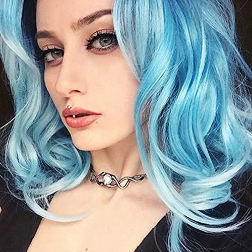 WQWIG Flauschige Kurze lockige Blonde Haarperücken Afro Perücken der mittleren Alter Frauen Hochwertige synthetische Perücke für Cosplay oder täglichen Gebrauch,Blue -